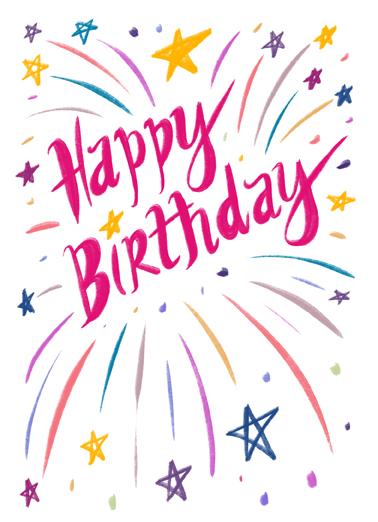 Happy Birthday Burst Ecard Cover